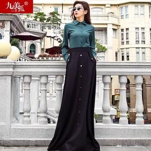 2018女装新款春装2017秋冬韩版高腰超长中长款羊毛呢裙子半身长裙