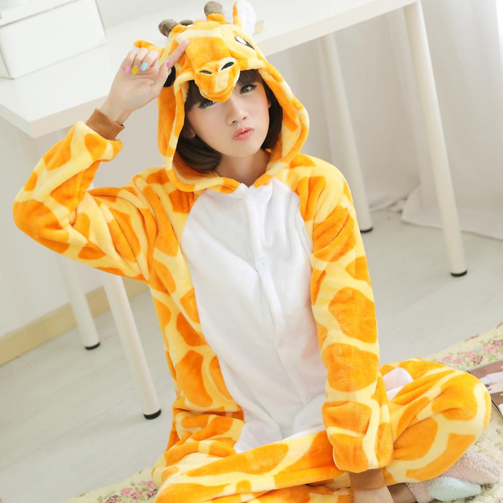 Жираф мультфильм животных одежды осень/зима издание для туалетов и прекрасный любителей мужского и женского оленей фланель один кусок пижама
