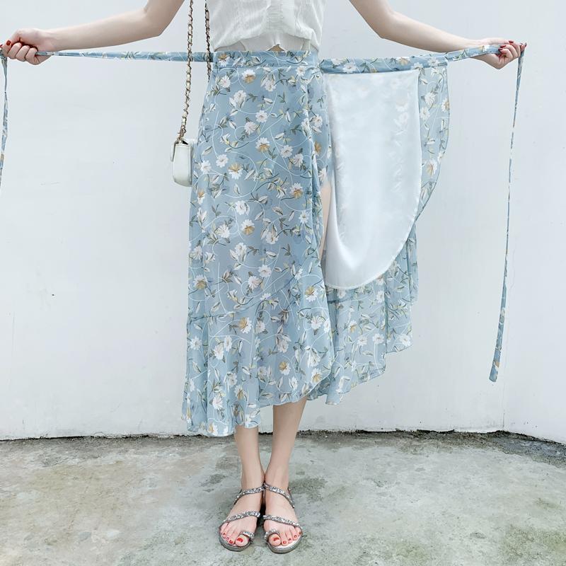 系带鱼尾长裙夏新款泰国旅游裹裙高腰荷叶边碎花雪纺一片式半身裙