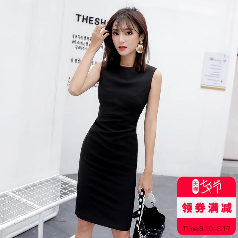 2018新款春秋女装黑色无袖背拉链修身气质包臀职业OL通勤女连衣裙