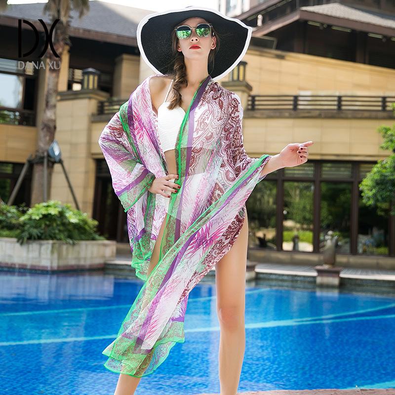 春秋真丝丝巾长款夏季防晒披肩超大桑蚕丝围巾沙滩巾海滩纱巾女士