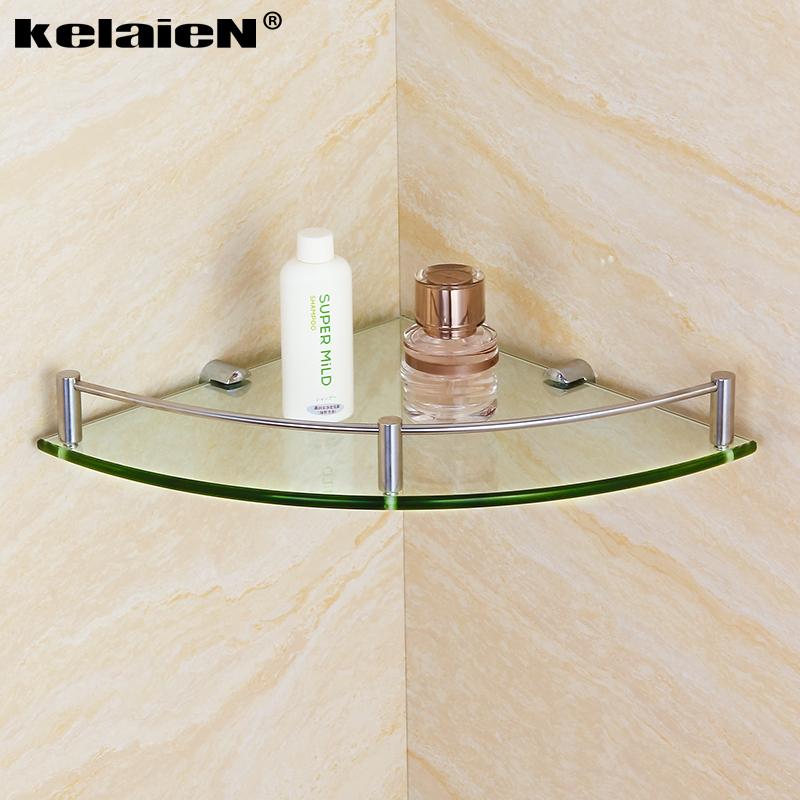 kelaien 304不鏽鋼玻璃角架 單層浴室轉角架 衛浴置物架 掛件