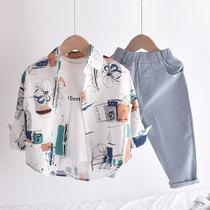 复古风!男童衬衫外套春装纯棉薄款儿童衬衣女童宝宝洋气上衣夏季