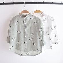 可当防晒衣~儿童衬衣长袖薄款新款韩版宝宝男童衬衫夏装棉麻上衣