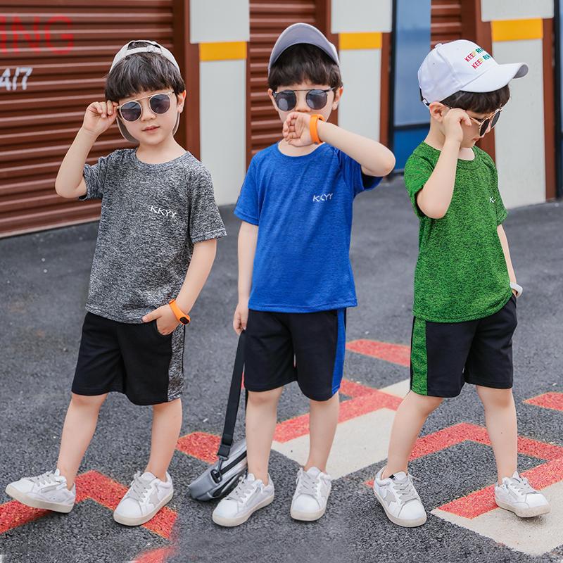 童装男童套装夏装2019新款短袖运动儿童中大童速干帅洋气韩版 潮