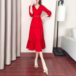 2020年新款早春女春秋长裙子女夏季法式显瘦雪纺气质红色连衣裙夏
