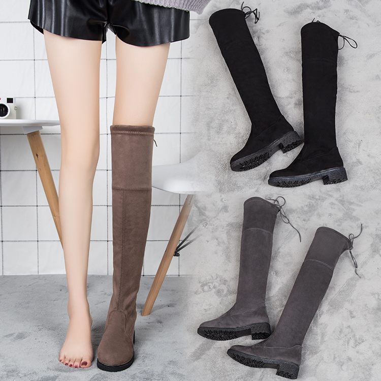 2017 spring and autumn new boots with thick velvet Martin boots flat boots knee high boots short boots winter shoes