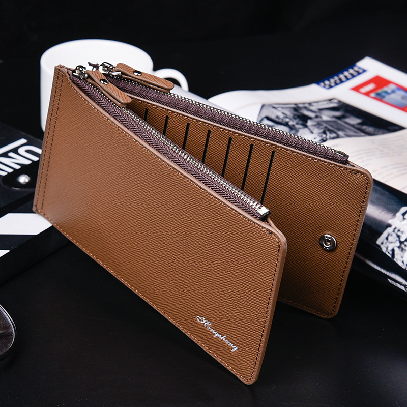2020 cross pattern new card bag birthday gift mens BUTTON WALLET multifunctional mobile phone bag thin double zipper wallet