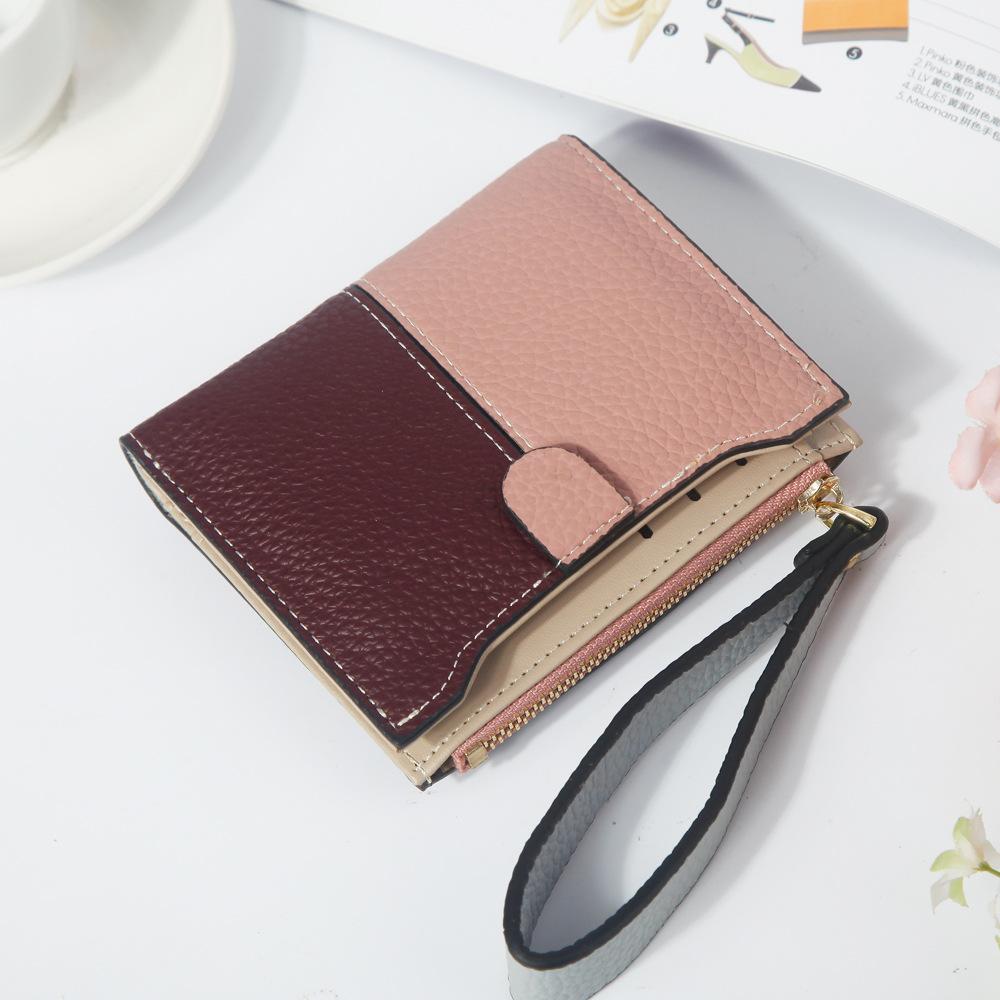 Womens short wallet wrist with small wallet pure women zipper zero wallet button contrast color