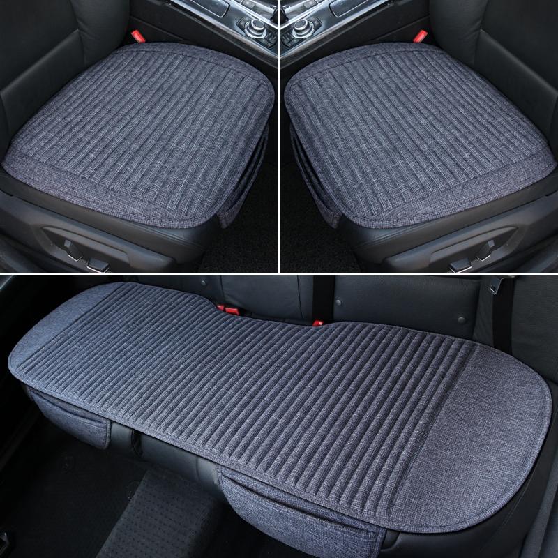 纯亚麻汽车坐垫新款透气四季通用无靠背前后排单片主驾驶专用座垫