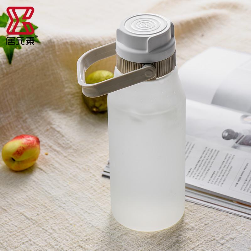 居元素储藏罐玻璃分储瓶磨砂玻璃带提手酵素密封罐储酒罐果汁壶1L