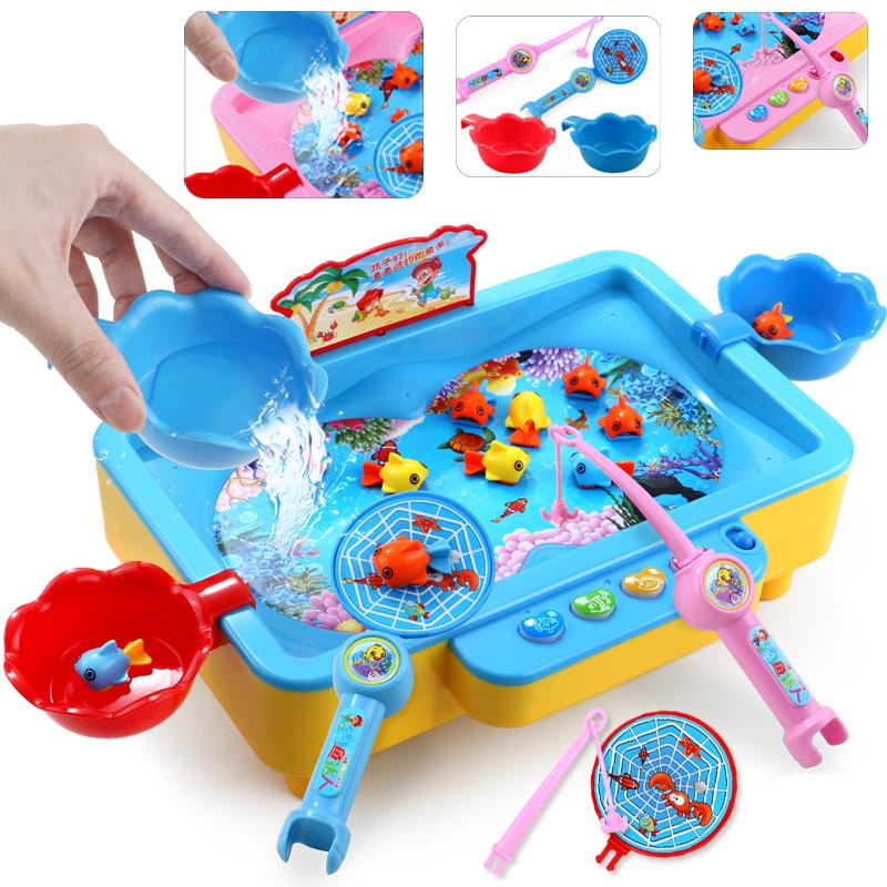 寶寶釣魚池套裝兒童玩具1~2~3~6周歲電動磁性男孩4~5女孩男童小孩