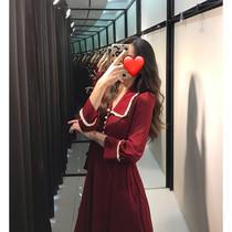 2020春装新款大码蕾丝打底衫女内搭长裙洋气胖妹妹显瘦红色连衣裙
