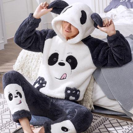 男士睡衣秋冬季珊瑚绒卡通法兰绒加厚加绒青少年秋冬款家居服套装