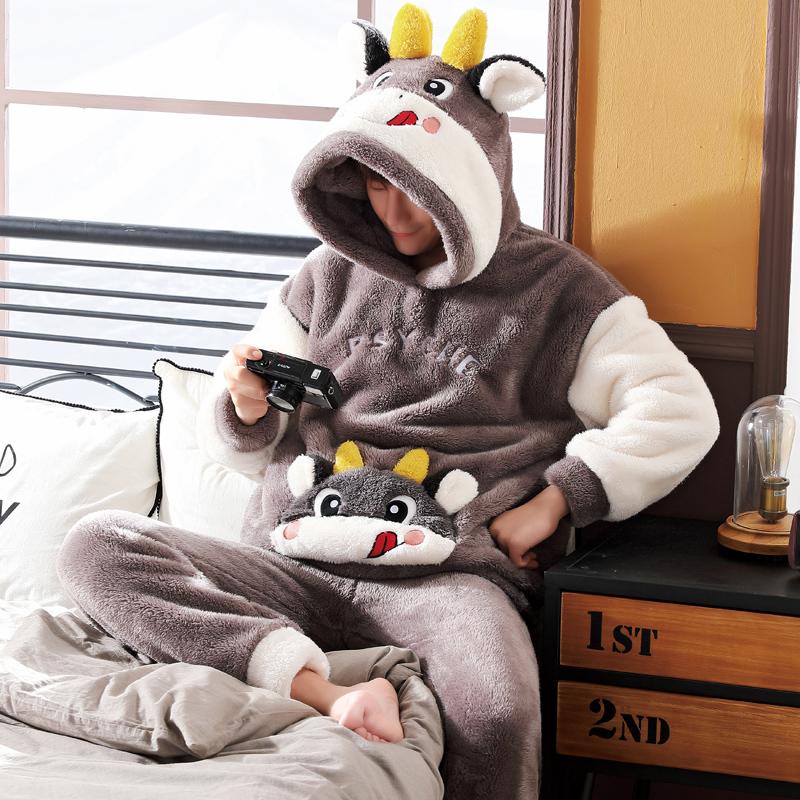男士睡衣秋冬款冬季珊瑚绒加厚加绒法兰绒卡通家居服男款冬天套装