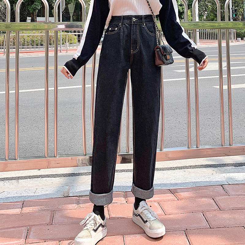 Real shot 9922 ? loose straight pants female father show thin show high smoke tube jeans female pants price limit is not low 79