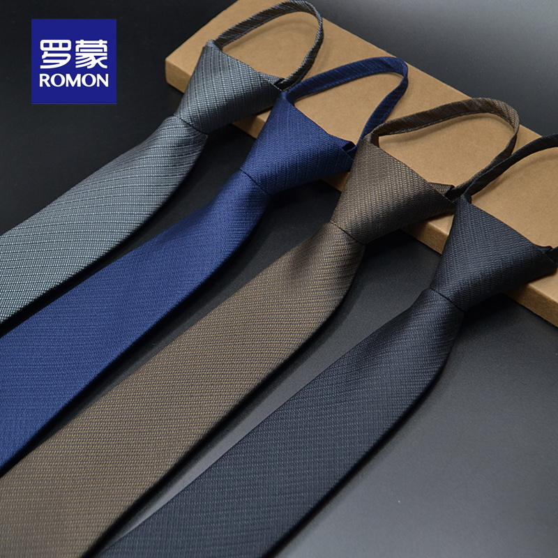 Romon's new tie dress business 6cm work zipper Korean version professional groom lazy man marriage