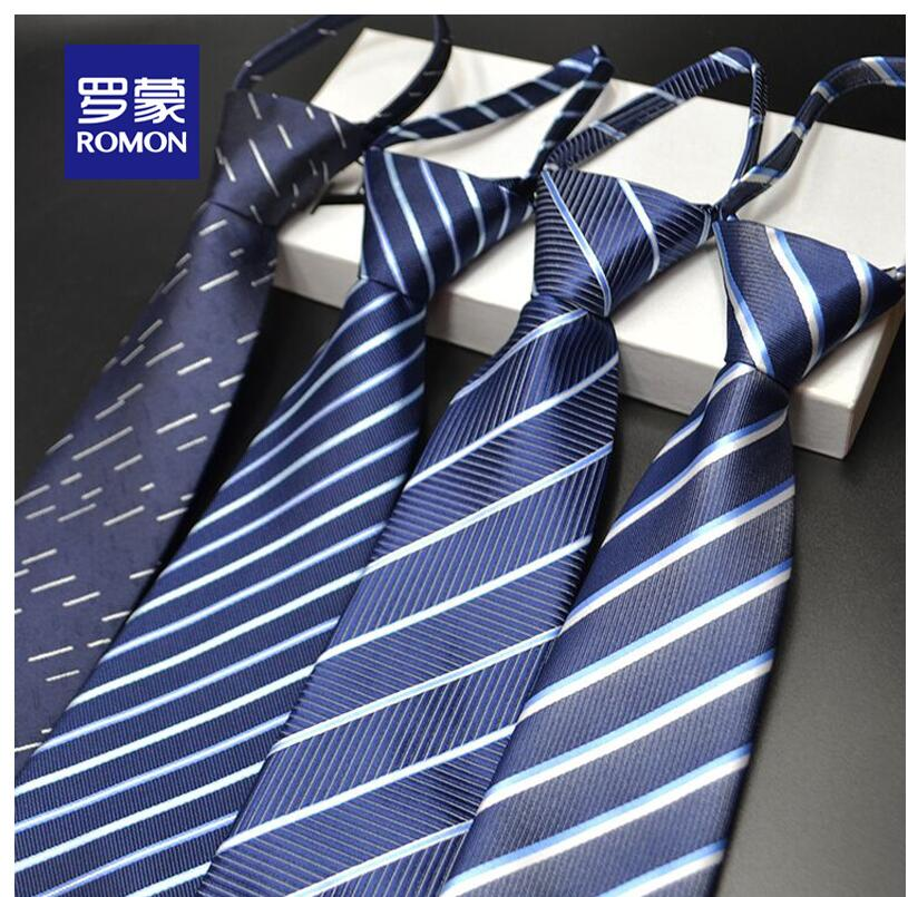 Romon Lazy Zipper Tie Men's Suit Business 8cm Work Korean Stripe Professional Groom Married