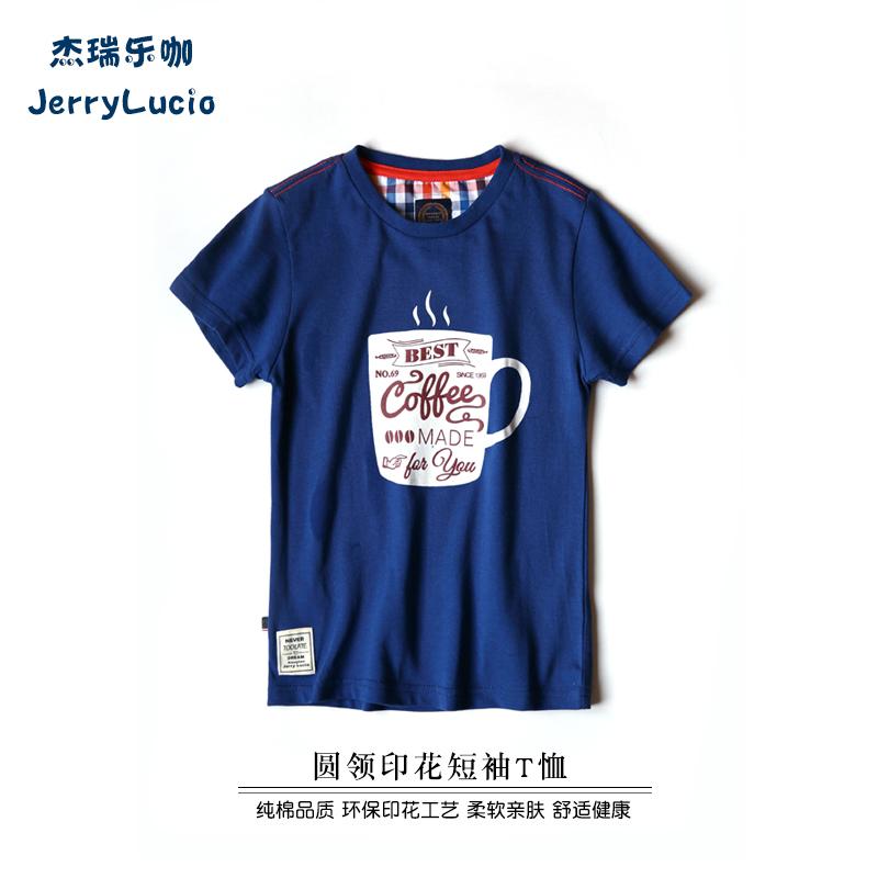 傑瑞樂咖 純棉男童印花t恤短袖 兒童夏裝男 上衣中大童圓領t恤