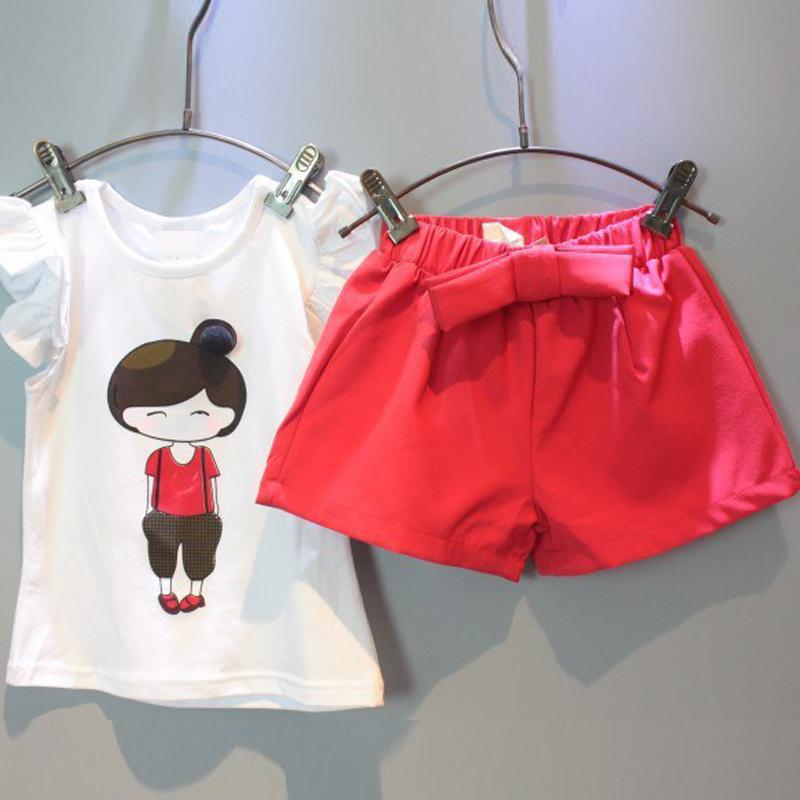 女寶寶夏裝套裝女童短袖短褲兩件套甜美波點兒 衣服1~4歲