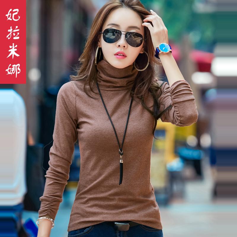 高领打底衫女秋冬韩版新款百搭紧身t恤纯色小衫秋季长袖女上衣薄