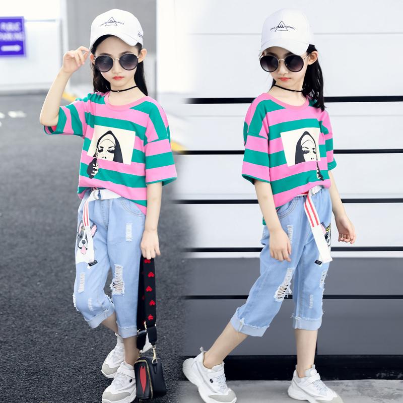 女童夏装2018新款洋气时髦套装中大童儿童韩版时尚两件套秋装童装