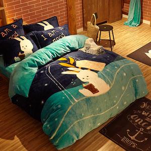 卡通法兰绒床上四件套冬季加厚双面珊瑚绒被套儿童床单法莱绒床笠