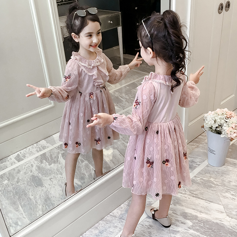 Girls' spring dress 2020 new autumn style children's dress spring and autumn girl lace princess skirt children's skirt
