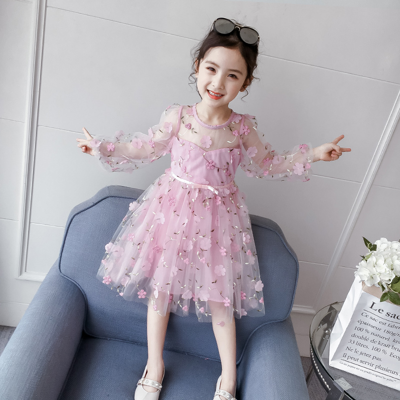 Girls' dress 2020 new style children's pompous yarn skirt children's children's summer dress princess skirt spring dress