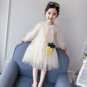 女童春装连衣裙2021新款春秋洋气童装蓬蓬纱儿童裙子小女孩公主裙