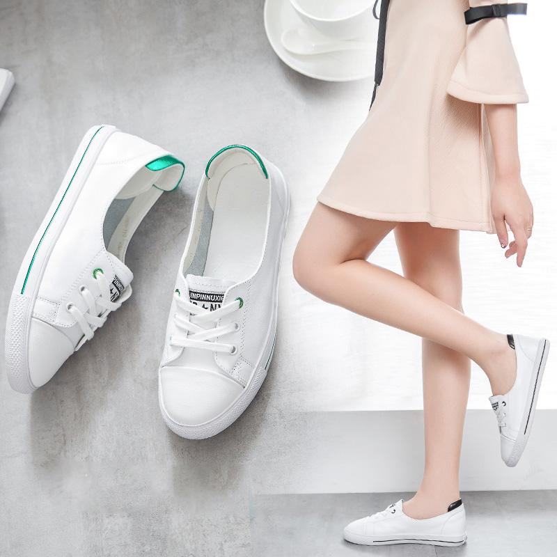 真皮小白鞋女2019夏款配裙子的网红透气浅口纯皮清新显脚小的单鞋