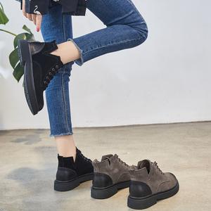 低帮马丁靴女2019秋款ins网红瘦瘦靴子欧洲站平底女靴英伦风短靴