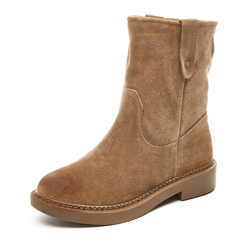 Women's half high boots, thin women's boots, flat soles, snow boots, new small heels, short boots, spring and autumn single boots