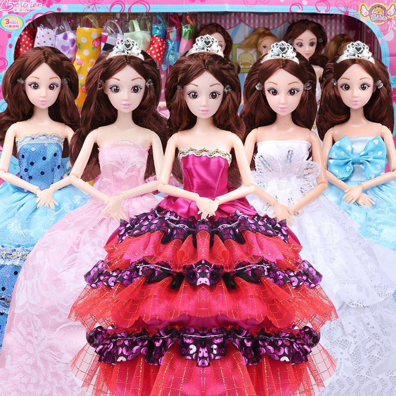 換裝芭比娃娃套裝大 玩具婚紗衣服兒童女孩玩具巴比公主洋娃娃