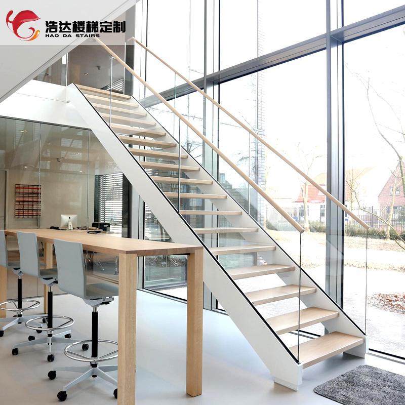 浩达实木扶手玻璃护栏双梁楼梯室内整体钢木家用阁楼跃层复式别墅