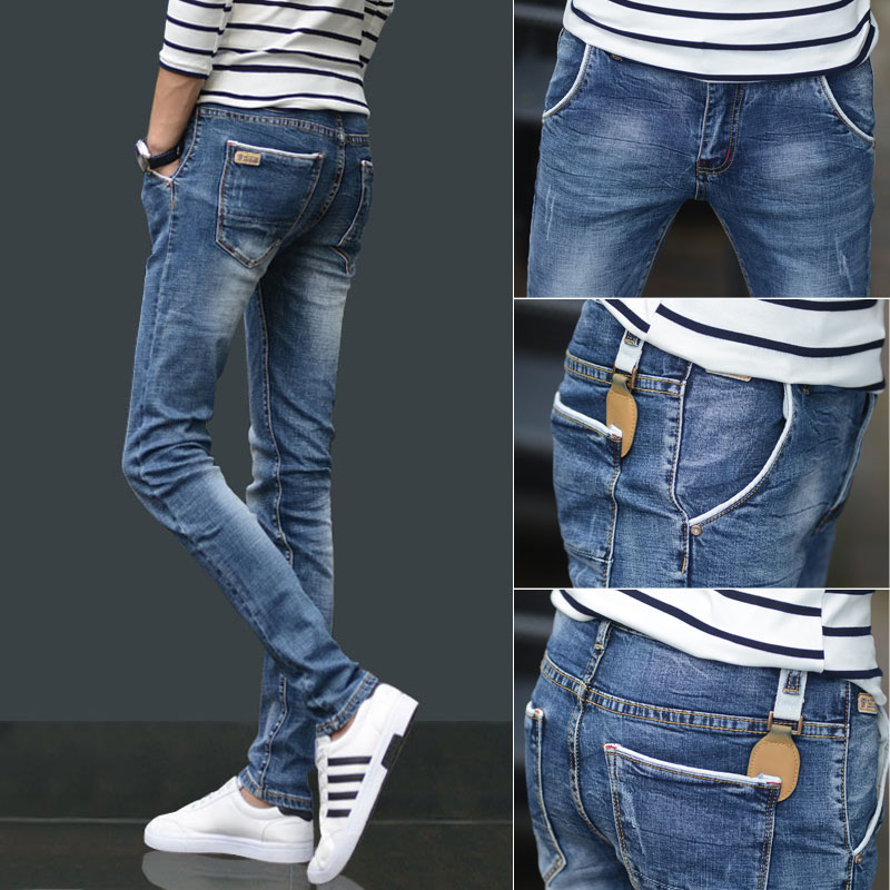 Jeans men's Korean Trend spring men's elastic casual fit small feet light color mix and match long pants trend brand