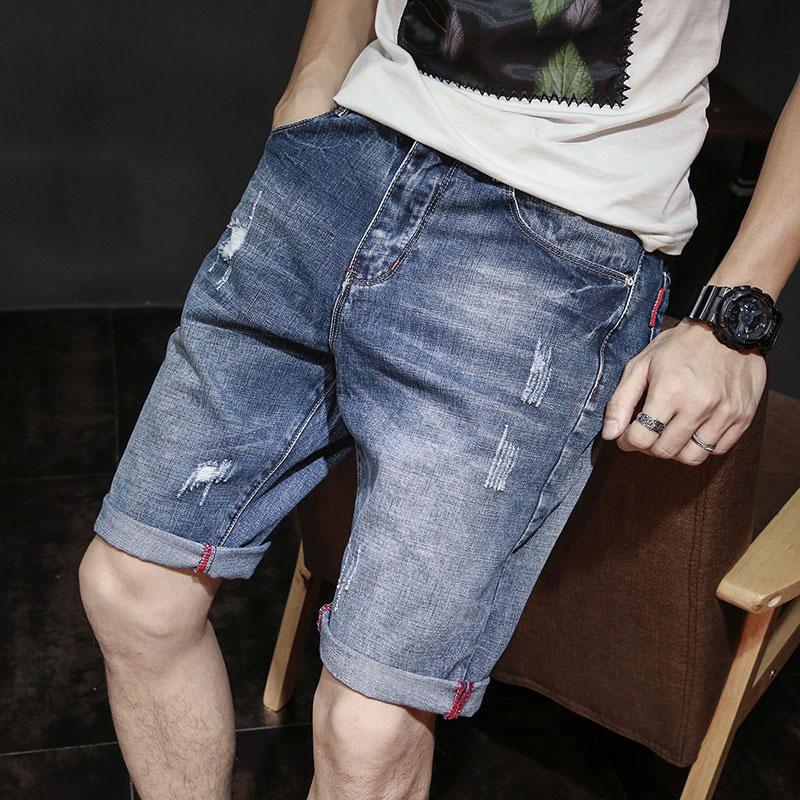 牛仔短裤男韩版流五分夏季薄款宽松中裤休闲破洞5分修身潮牌马裤