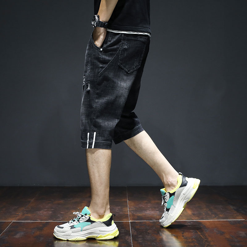 Summer thin seven-minute Harun jeans men's slack shorts Korean fashion leisure seven-minute fashion brand overalls