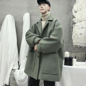 中长款外套男冬季加厚呢子风衣学生ins港风韩版潮流情侣毛呢大衣