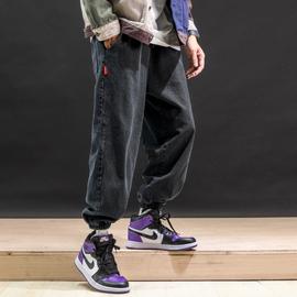 春季新款复古纯色休闲牛仔裤男宽松大码运动直筒束脚长裤韩版潮流图片