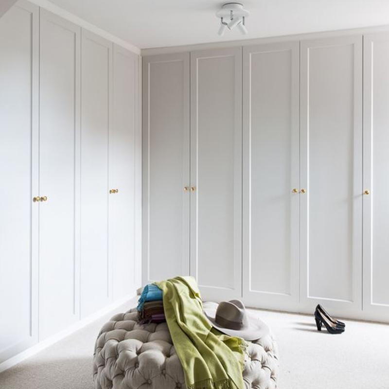 轻奢简约欧式原木整体衣柜定制卧室平开门走入式嵌入式衣帽间定做