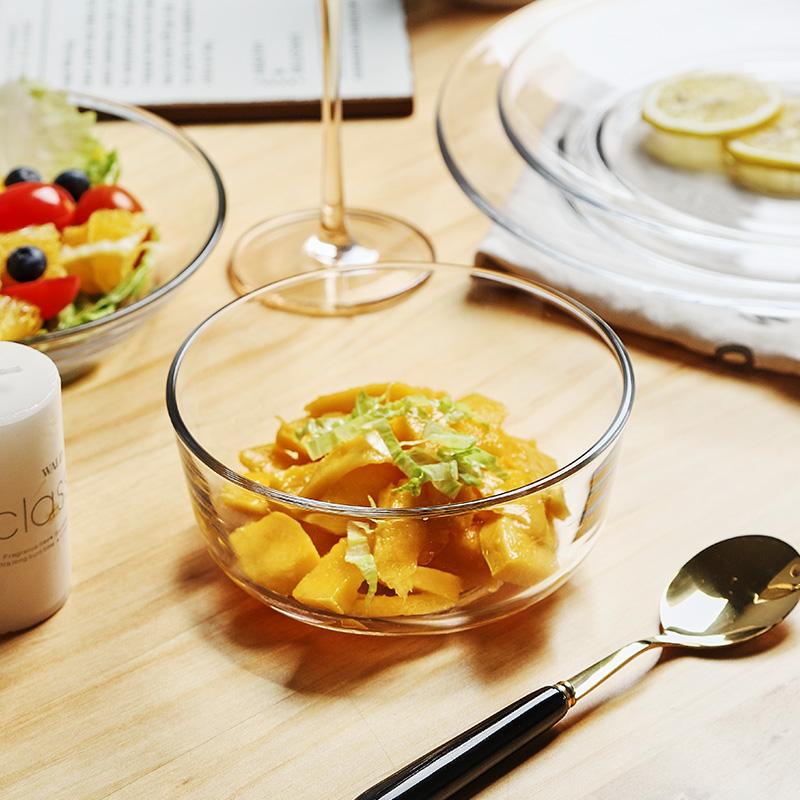 微波炉透明玻璃沙拉碗水果家用单个网红学生泡面创意耐热汤碗餐具