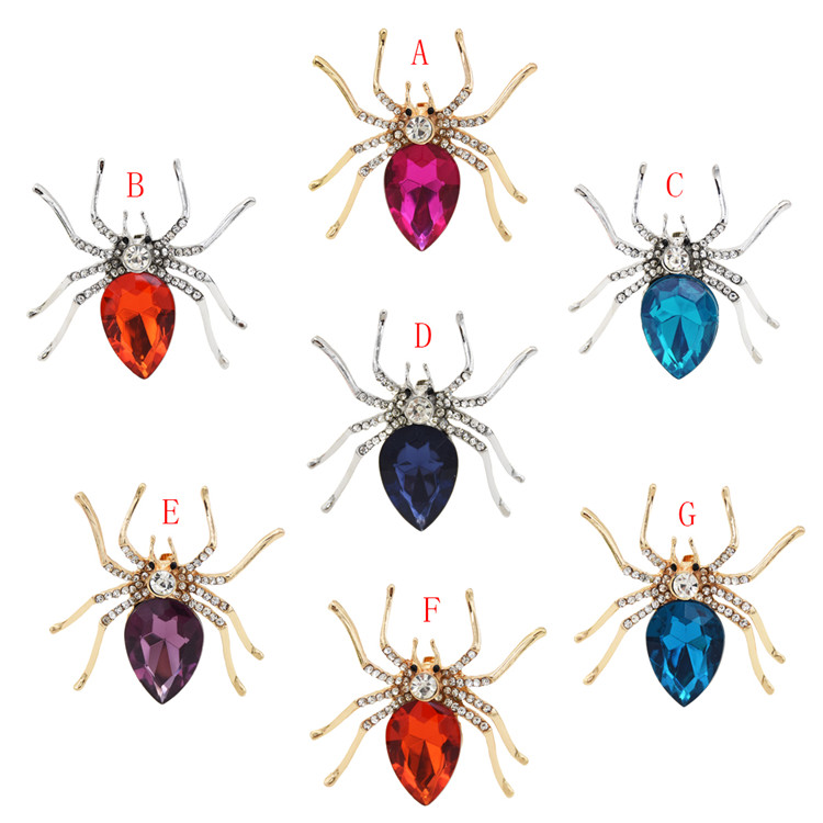 7-color alloy Gold Silver Rhinestone Brooch womens spider clothing accessories fashion trend accessories