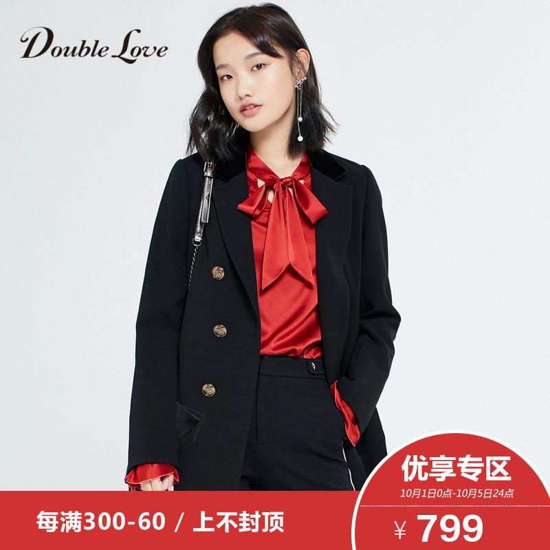 3】Doublelove女装2018早秋新款个性字母长袖双排扣通勤西装外套