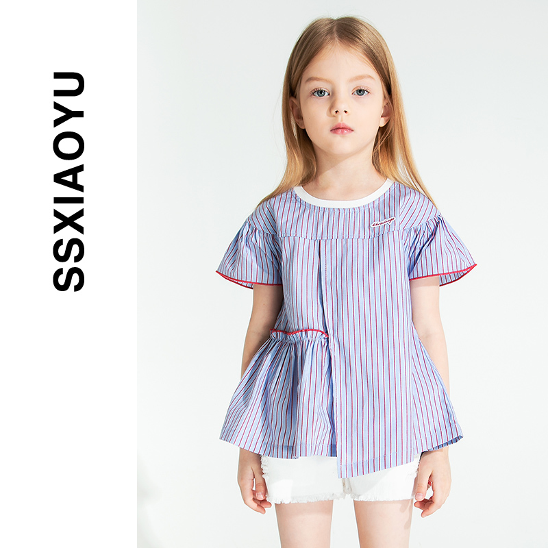[1 50% off] spring / summer 2020 small fresh asymmetric children's top westernized baby girl T-shirt short sleeve single shirt