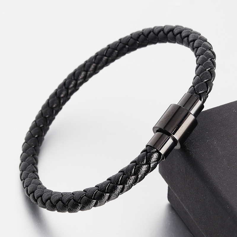 Leather Rope Bracelet Stainless Steel Leather woven leather bracelet Leather Bracelet simple leather bracelet mens leather jewelry