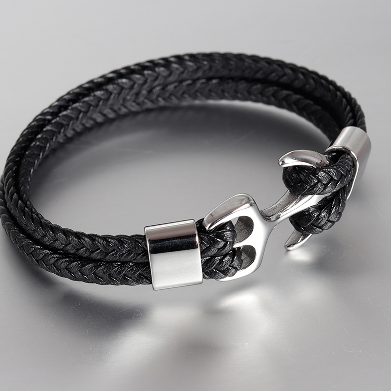 Mens stainless steel boat anchor Bracelet antique woven leather leather rope bracelet multi layer leather bracelet couple Bracelet