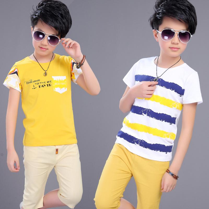 男童夏装T恤2018新款中大童纯棉短袖两件套儿童夏季休闲套装韩版