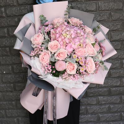 教師の日のバラのアジサイキキョウは花束を混ぜて杭州の生花を送ります。