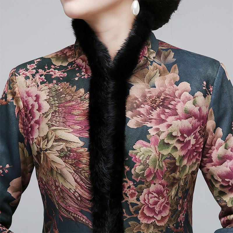 2018新款麂皮绒长款旗袍大衣女改良时尚版加厚保暖旗袍裙冬装棉袄